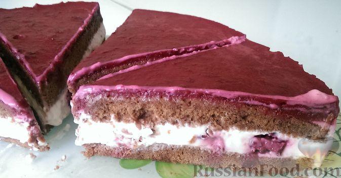 Фото к рецепту: Вишневый торт с творожным кремом