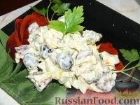 Фото к рецепту: Салат с охотничьими колбасками и курицей
