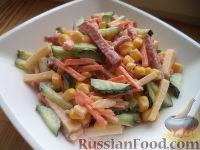 Салат огурцы с кукурузой