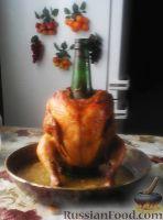 Фото к рецепту: Курица с золотистой корочкой (на бутылке)