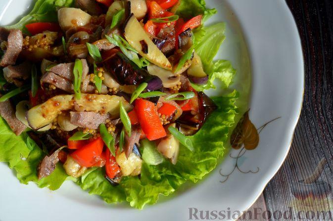 Салат с баклажанами и языком