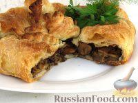 Фото к рецепту: Мясной пирог с баклажанами и грибами