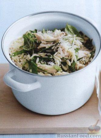 Рецепт Ризони с сыром, куриным мясом, шпинатом и базиликом