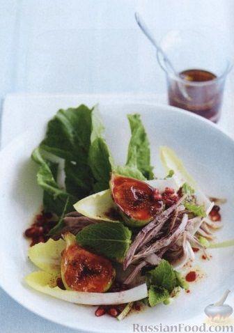 Рецепт Салат с утиным мясом, инжиром, цикорием, гранатом и зеленью