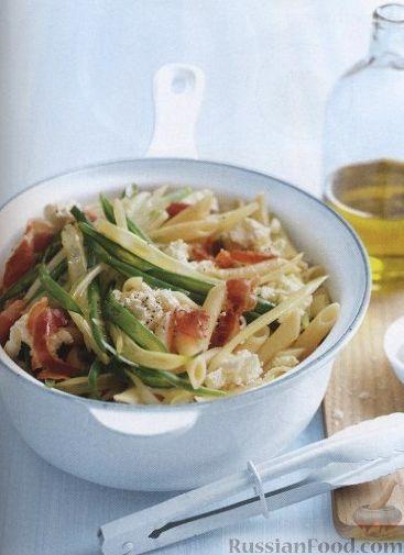 Рецепт Макароны с панчеттой, фасолью и рикоттой