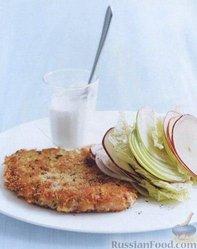 Рецепт Свиные шницели с яблоками, фенхелем и капустой