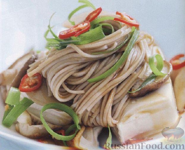 Рецепт Лапша соба с грибами и сыром тофу