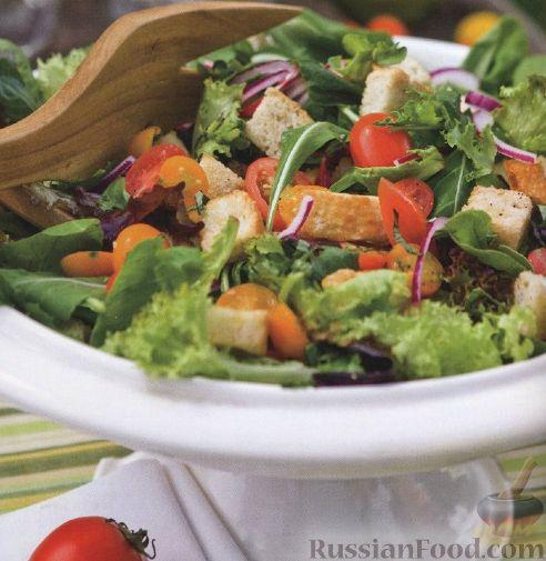 Рецепт Летний овощной салат с крутонами