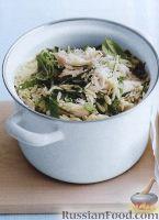 Фото к рецепту: Ризони с сыром, куриным мясом, шпинатом и базиликом