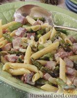 Фото к рецепту: Макароны с ветчиной, спаржей и луком
