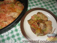 Фото к рецепту: Запеченные голубцы из молодой капусты