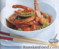 Фото к рецепту: Креветки с зеленым горошком под пикантным соусом