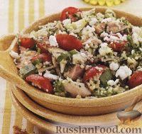 Фото к рецепту: Салат из кус-куса, куриного мяса и овощей