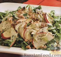 Фото к рецепту: Салат из яблок, рукколы, фенхеля, сельдерея, шалота и орехов