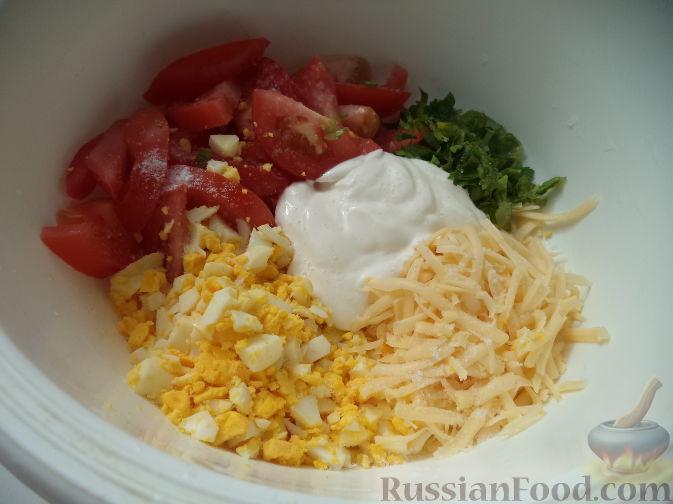 рецепт сырного салата с яйцом