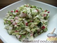 Фото к рецепту: Салат из белокочанной капусты, огурцов и редиса