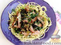 Фото к рецепту: Спагетти с баклажанами и ветчиной