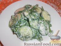 Фото к рецепту: Салат из огурцов и щавеля