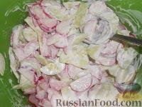 Фото приготовления рецепта: Салат из редиса с огурцами и со сметаной - шаг №9