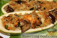 Фото к рецепту: Цуккини, фаршированные пшеничной кашей и баклажанами