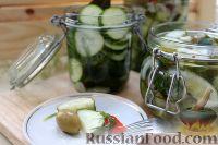 Фото к рецепту: Острый маринованный салат из огурцов