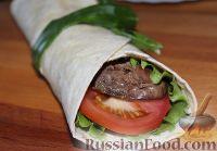 Фото к рецепту: Тортилья пшеничная с куриной печенью и овощами