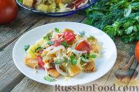 Фото к рецепту: Салат с помидорами, картофелем, сыром и сухариками