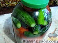 Фото к рецепту: Малосольные помидоры и огурцы (горячий способ)
