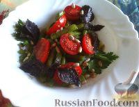 Фото к рецепту: Салат из стручковой фасоли и помидоров