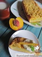Фото к рецепту: Заварной пирог «Бразильский» с персиками