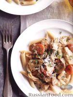 Фото к рецепту: Макароны с курицей, грибами, помидорами и артишоками