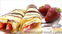 Фото к рецепту: Блины с корицей, клубникой и шоколадной глазурью