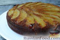 Фото к рецепту: Имбирный пирог с карамелизированной грушей