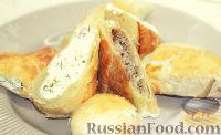 Фото к рецепту: Пирог с двумя начинками: с брынзой и мясным фаршем