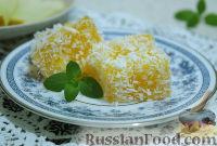 Фото к рецепту: Десерт из дыни с кокосовой стружкой
