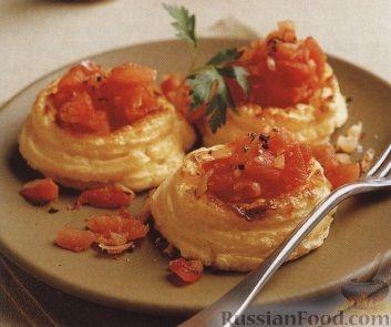 Рецепт Картофельное суфле с помидорами в виде птичьих гнезд
