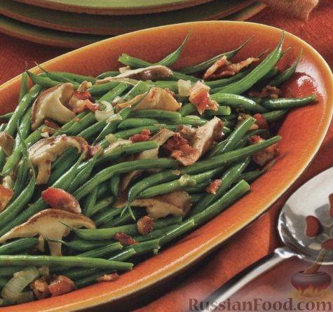 Рецепт Стручковая фасоль с грибами, луком и беконом