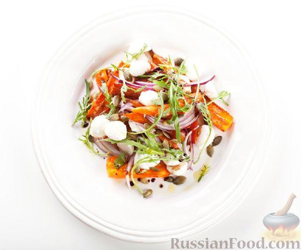 Рецепт Салат с печеной морковью и моцареллой
