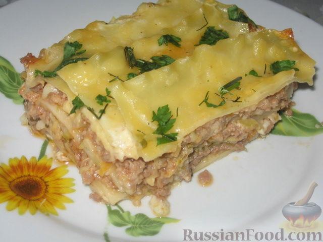 Рецепт Мясная лазанья с кабачком