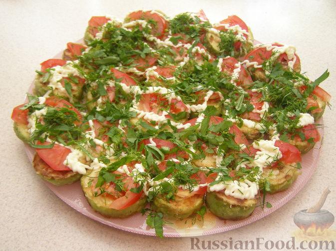 Рецепт Закуска из кабачков с чесноком и помидорами