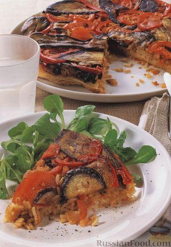 Рецепт Запеканка из риса, помидоров и баклажанов