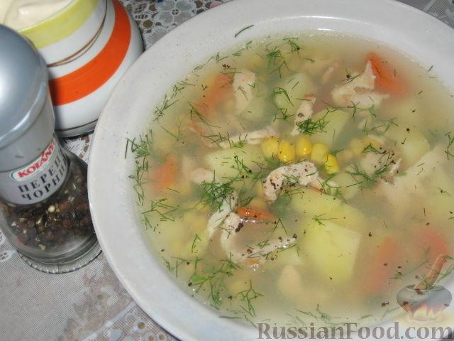 Рецепт Суп с кукурузой и копченым рыбным филе
