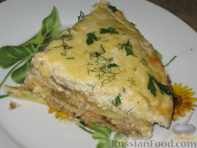 Рецепт Запеканка из кабачков с брынзой