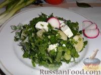 Фото к рецепту: Салат из зеленого лука, щавеля и брынзы