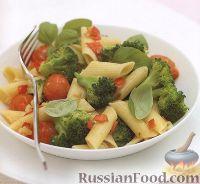 Фото к рецепту: Макароны с брокколи и помидорами
