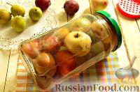 Фото к рецепту: Компот с целыми грушами, сливами и яблоками (на зиму)