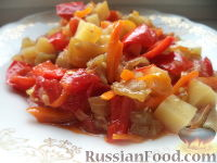 Фото к рецепту: Овощное рагу с баклажанами, сладким перцем и картофелем