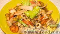 Фото к рецепту: Соте из овощей с морепродуктами