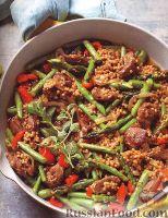 Фото к рецепту: Мясо с кускусом и спаржей