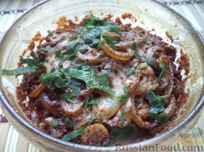 печень говяжья рецепты жареная с луком и сметаной рецепт с фото